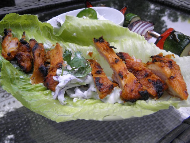 Lettuce Wraps with Tandoori Chicken