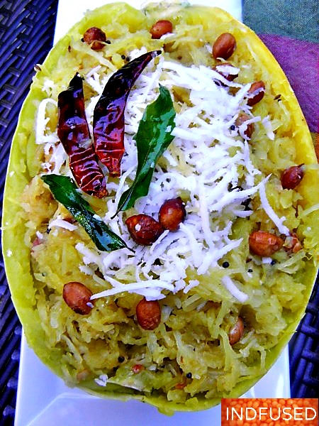Indian fusion recipe, vegan vegatarian using Trader Joes spaghetti squash