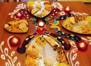 Rangoli around the plates