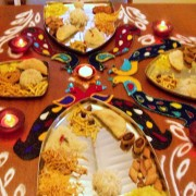 Rangoli around the plates