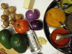 ingredients for the bhurji style eggs