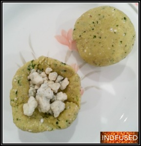 Paratha dough stuffed with blue cheese crumbles