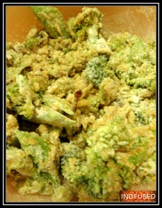 Besan and ladoo besan added to the crunchy cooked broccoli