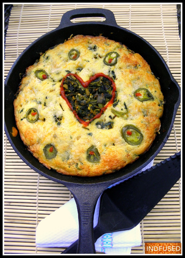 Skillet baked Cornbread with Curried Kale