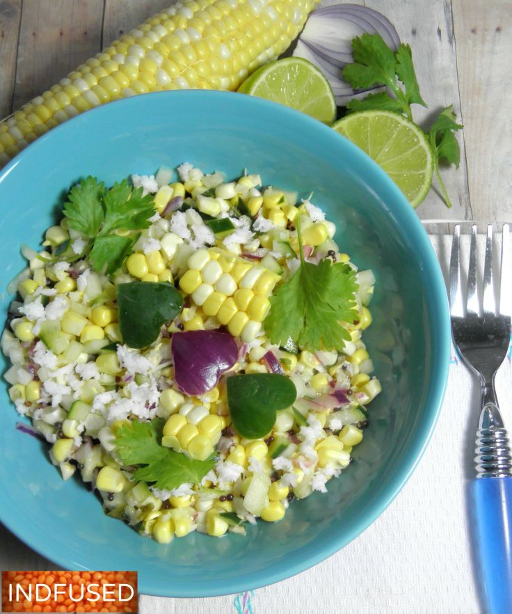 #raw corn, #cucumber, #coconut #Indiancuisine #salad with #vegan option. #quick and #easy #recipe