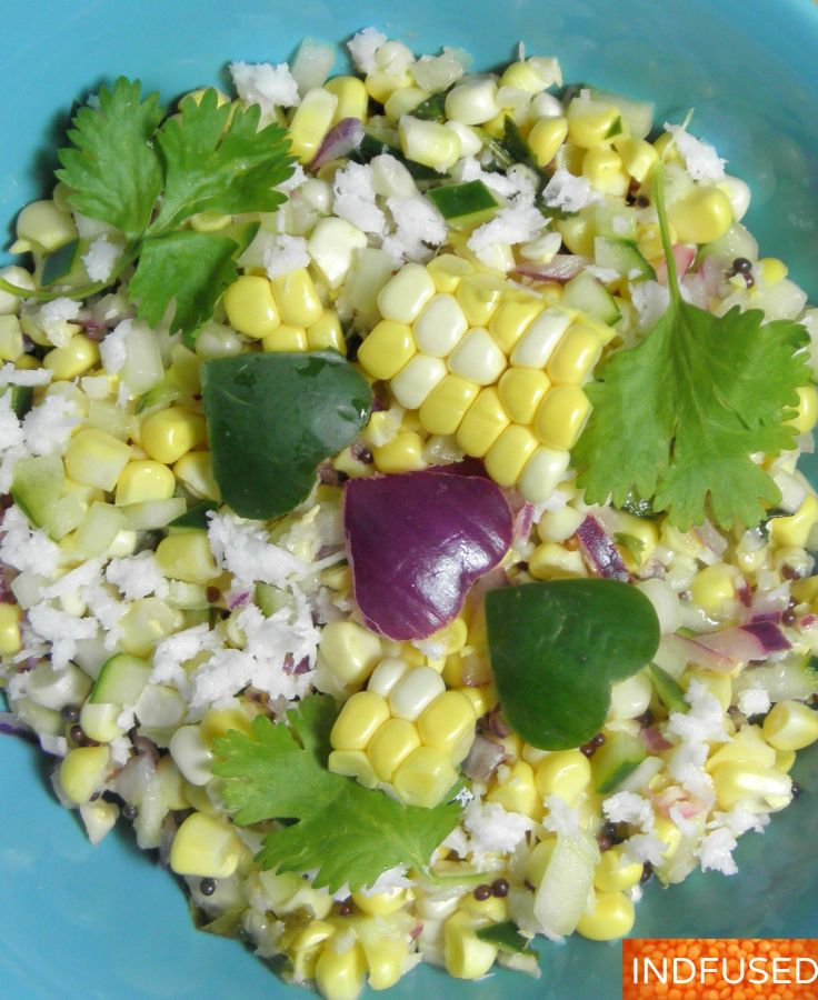 #Delicious, #raw corn, #cucumber, #coconut #Indiancuisine #salad with #vegan option. #quick and #easy #recipe
