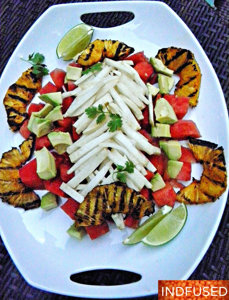 Hang on to #summer with this #delicious #easy to make #grilled #pineapple #salad with #avocado, #watermelon and #jicama.