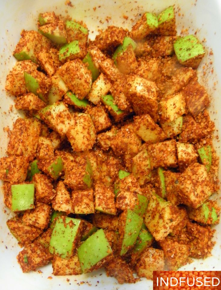#Indian #recipe for #authentic tasting #pickle made with #fresh #crunchy #apples! a #Fall #recipe with #mustard seeds, #asafetida, #chili powder and #fenugreek seeds
