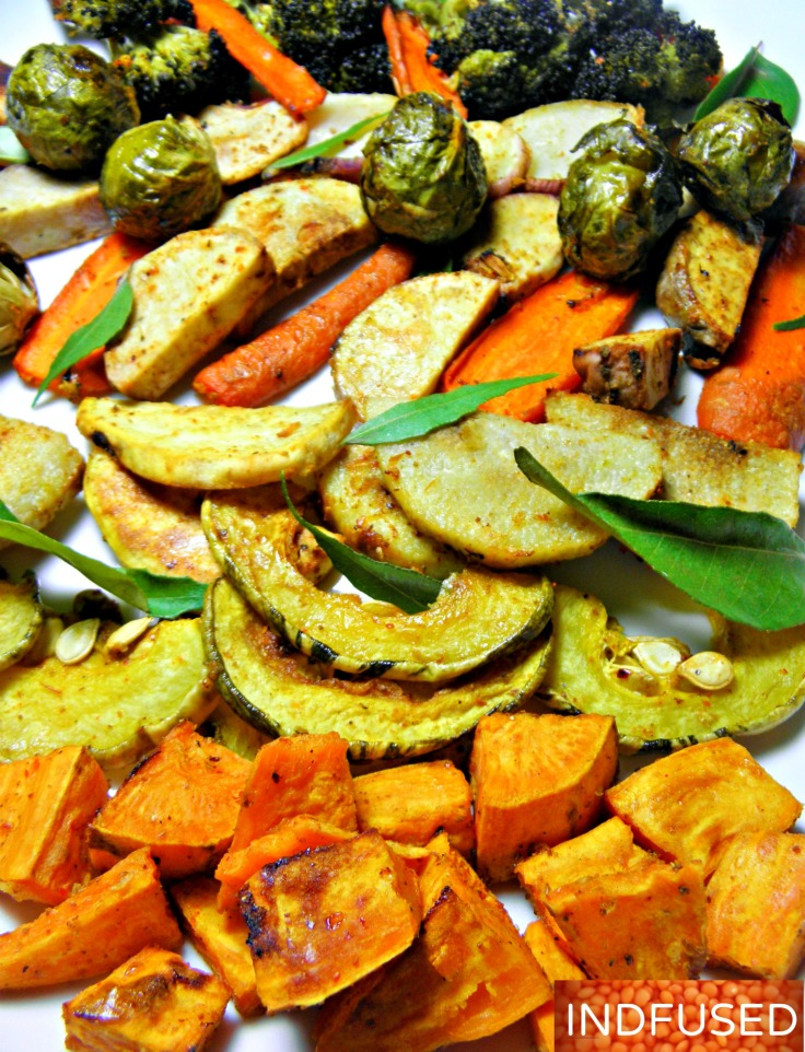 #Oven #roasted #vegetables and #root vegetables#spiced with #Indian #spices like coriander seed powder and #garam masala.#easy #recipe