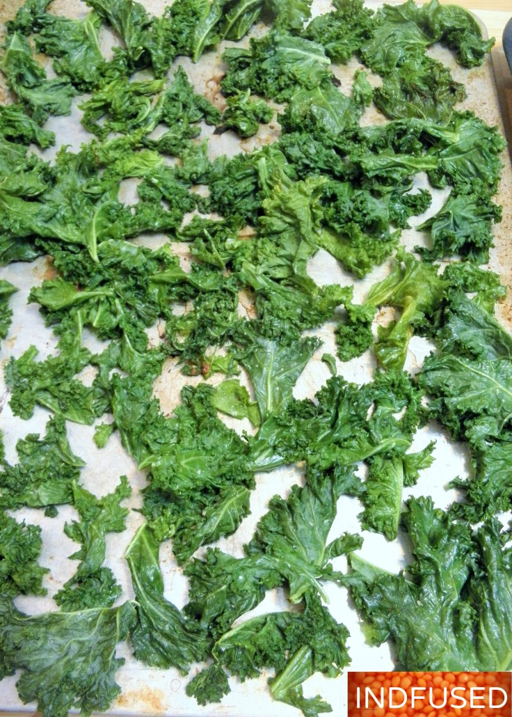 Massaged kale leaves ready for baking