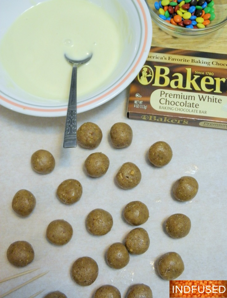 #easy #recipe for #almond #butter #truffles, perfect for the #holidays, with #white #chocolate and #mini #m&ms