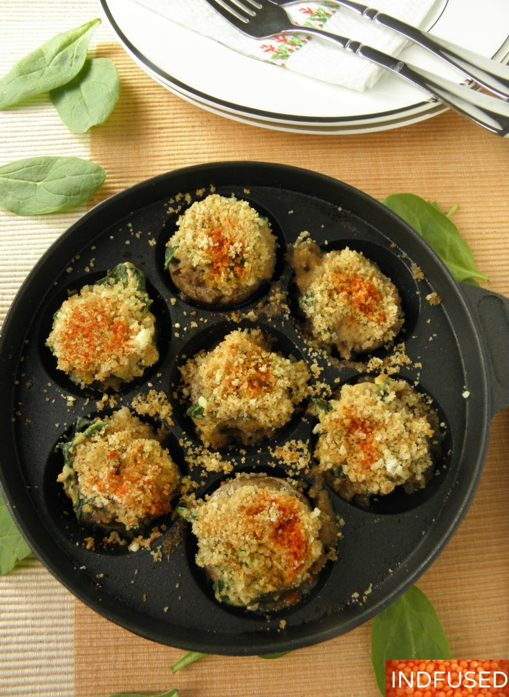 #Healthier #recipe for #vegetarian#Stuffed #mushrooms in #aape or #ebelskiver pan.