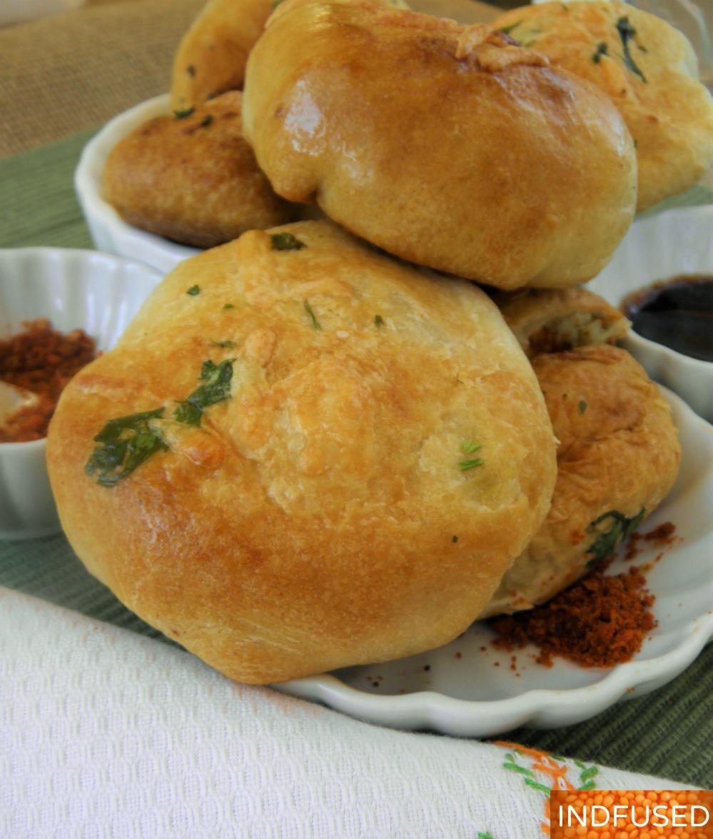 #Pillsbury Grand Jr. #stuffed #biscuits # popular #indiancuisine #streetfood #vada paav #stuffing, #vegetarian #garlicky #cheesy #snack #quick and #easy #recipe