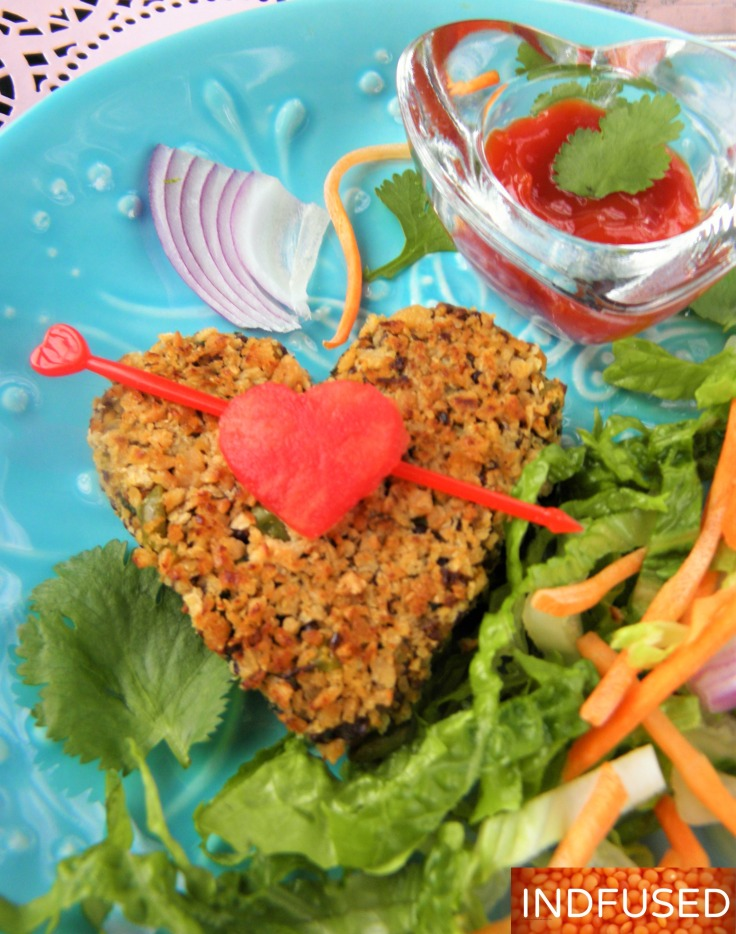 #Valentine's #day #heart #healthy #recipe for #vegatarian# vegan,#gluten-free #scrumptious #kebab #with #organic #quinoa #spinach, #sweet potato,#ginger, #garlic , #sweet potato and #defatted #high #protein #soy #granules