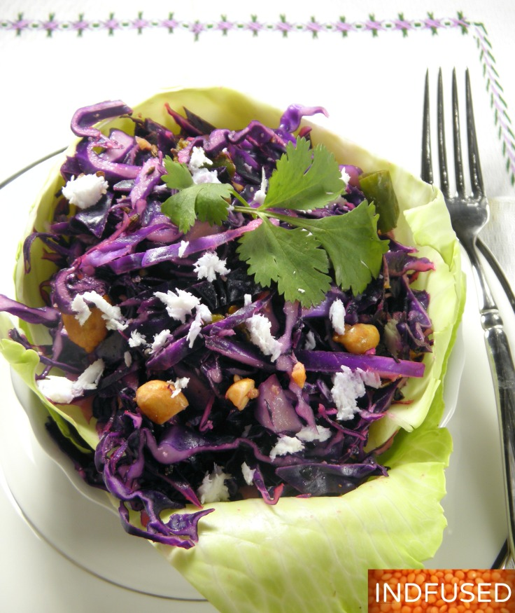 #Indiancuisine #vegetarian #nutritious #lowfat #vegan option #red #cabbage #salad#koshimbir
