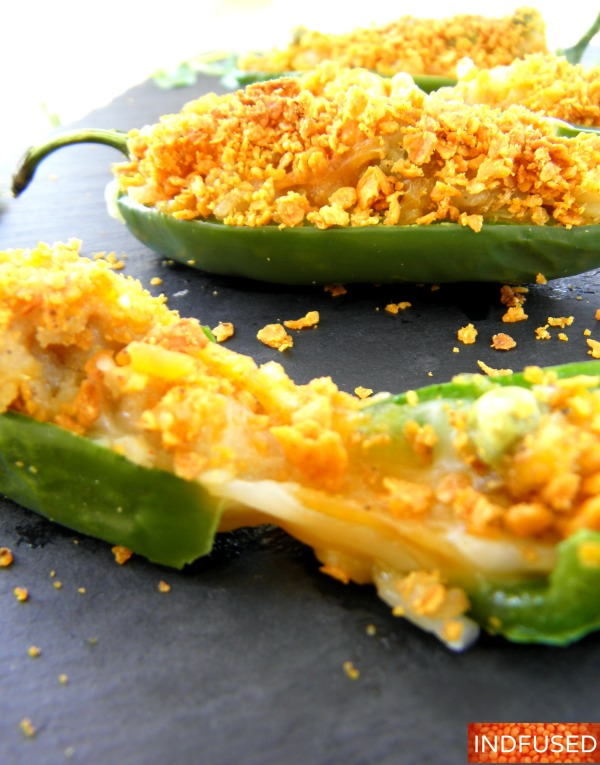 Non- fried, gluten free,stuffed jalapenos with an Indian spiced potato and pea filling that is cheesy, crunchy, spicy and yummy!