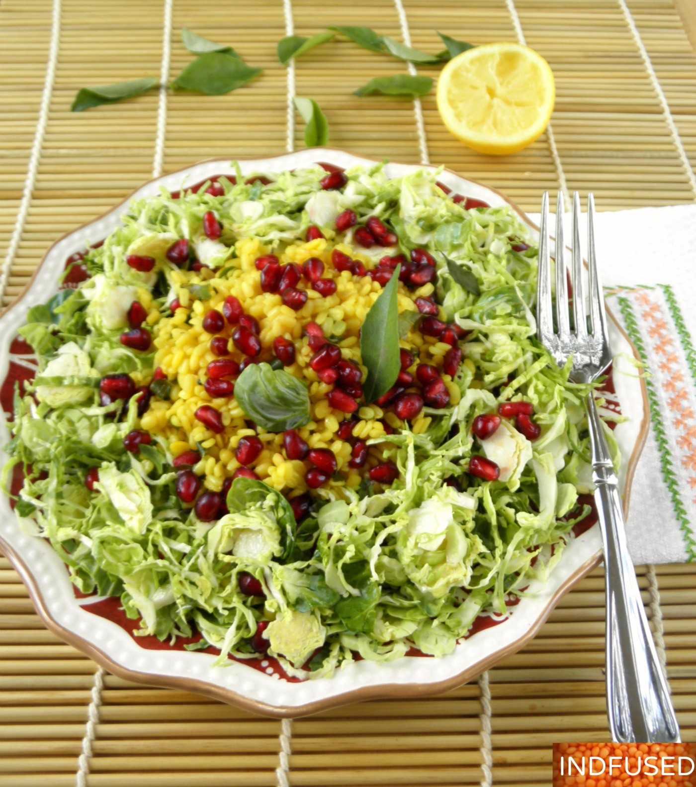 Easy recipe for a nutrition packed salad. Indian fusion recipe for clean eating. Gluten free, vegetarian, low fat dressing.
