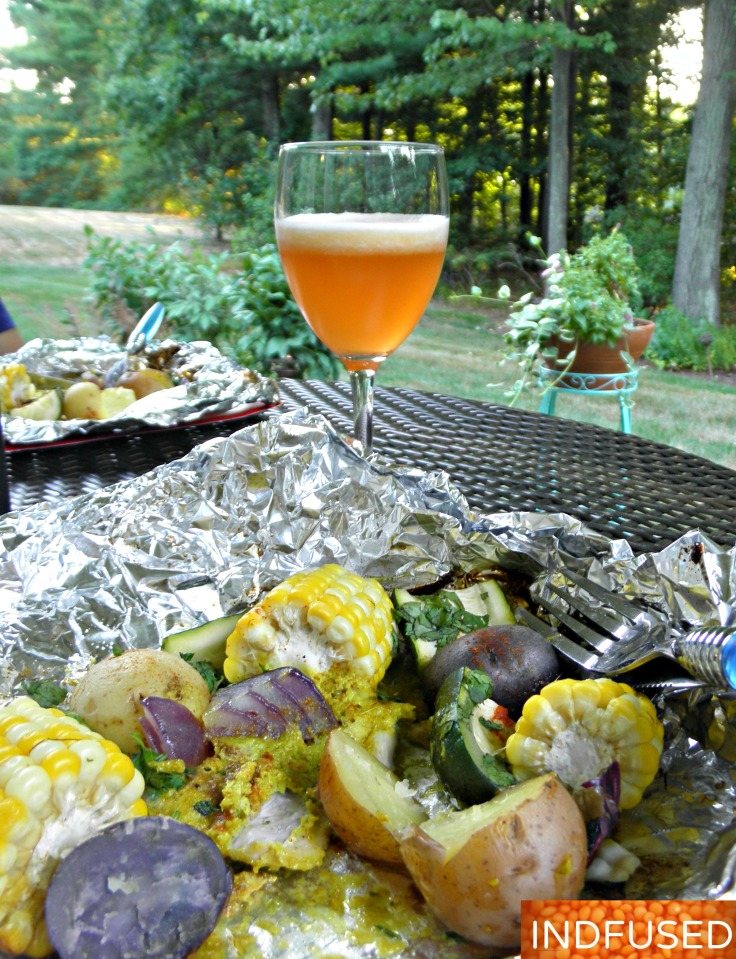 Easy recipe for Indian spiced curry chicken grilled with summer fresh veggies in aluminum foil packets.