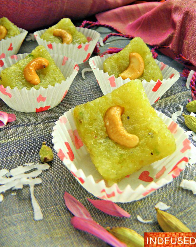 Healthy avocado fat used to make delectable coconut burfi for Narali Pournima festival