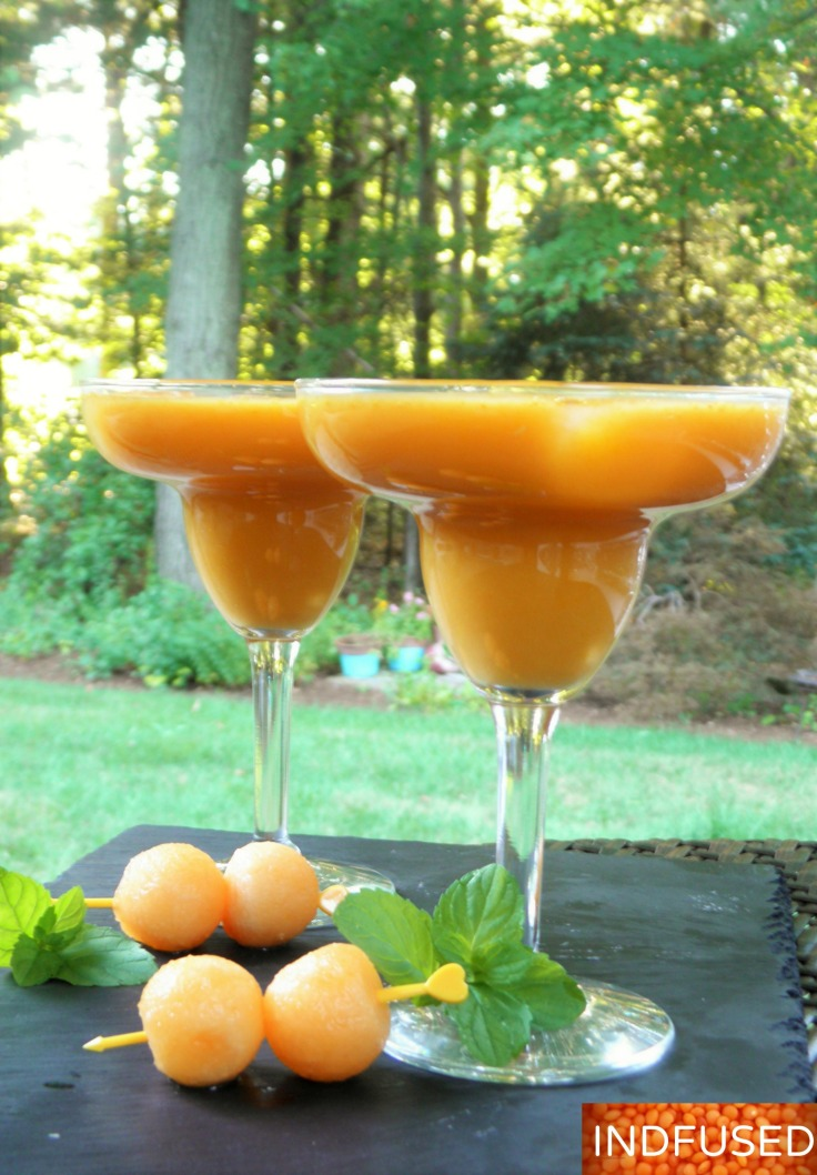 Gluten free, vegetarian, nourishing lassi made with cantaloupe, carrots, honey and coconut milk! Vegan option recipe,