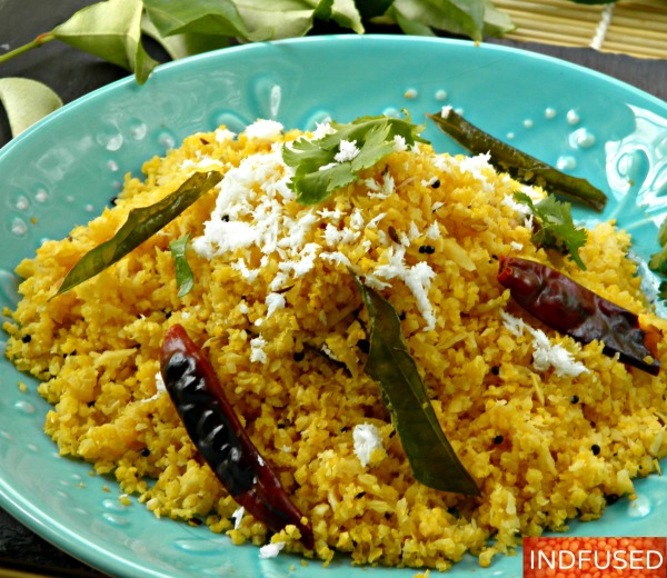 Quick and easy, gluten free, vegetarian, vegan, low calorie Indian spiced cauliflower rice upma is a great light meal or side dish option.