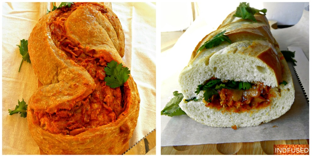 Indian fusion, quick and easy recipe for tandoori masala rotisserie chicken and Mexican cheese stuffed in two types of breads #Rhodes #Kraft cheese