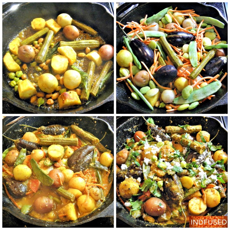 Winter harvest vegetables in a hearty, vegan, gluten free, vegetarian stew/bhaji with peanuts and sesame seeds. Easy #Indian heirloom #Sankranti #festival #recipe