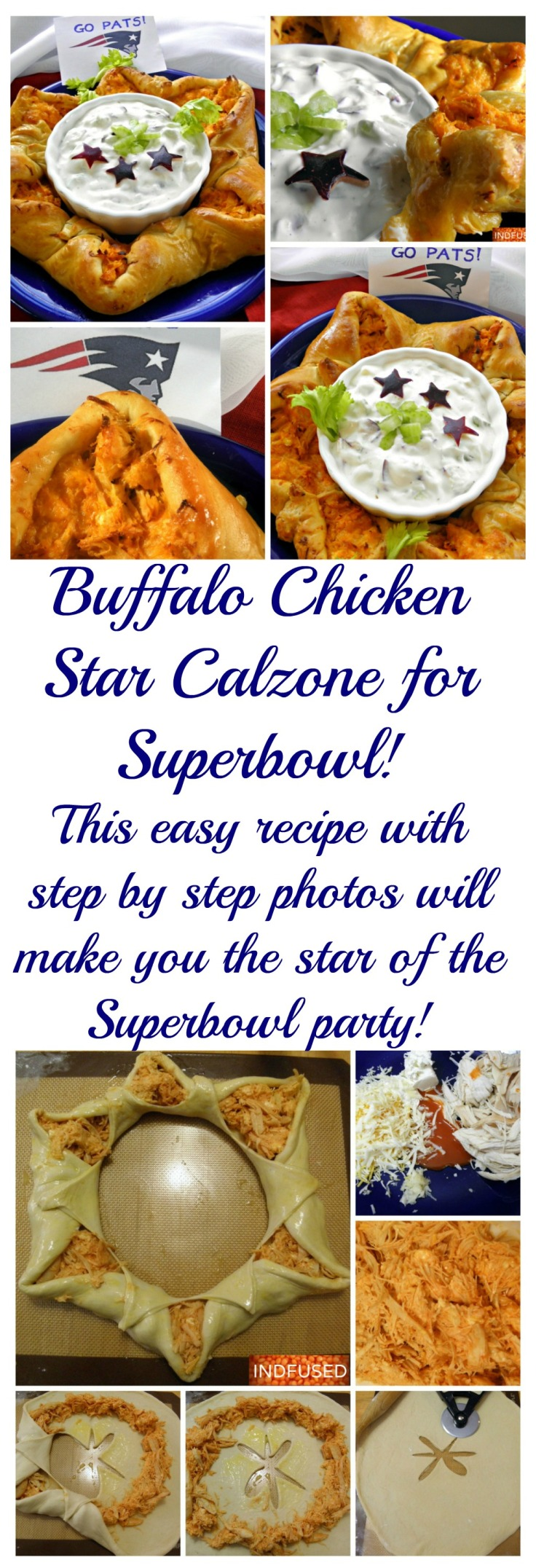 Easy recipe for #buffalochicken #calzone for #superbowlparty