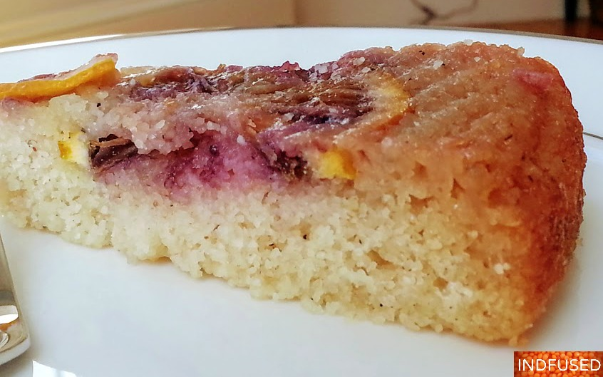 Indian fusion recipe for Eggless, Gluten Free Blood Orange Cake that is low fat and with a vegan option too.