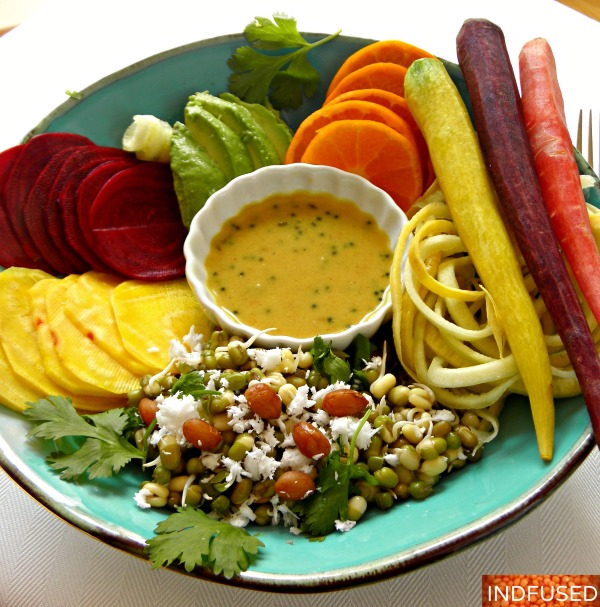 Mung Bean salad with veggies and fruit of the season and a nummy dressing! Indian fusion recipe for a healthy happy summer.