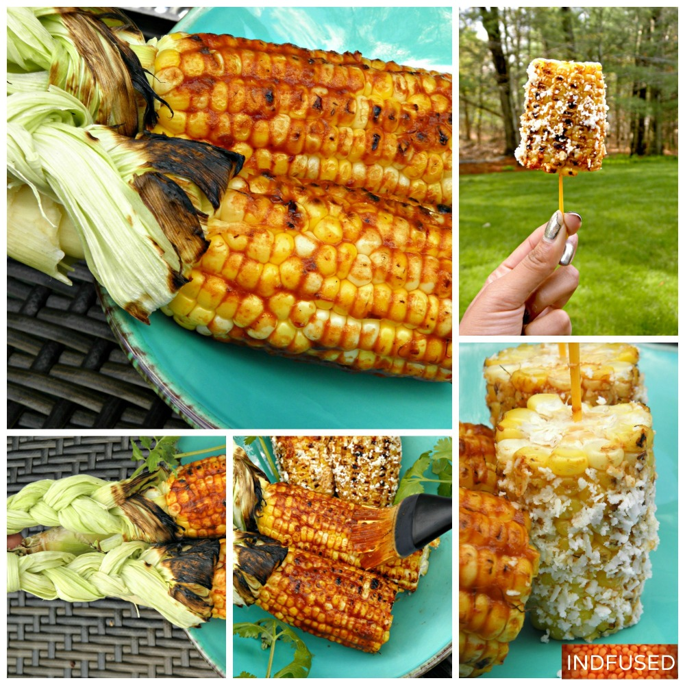Indian fusion recipe for grilled corn on the cob using #Cacique cotija cheese and #Embasa chipotle peppers
