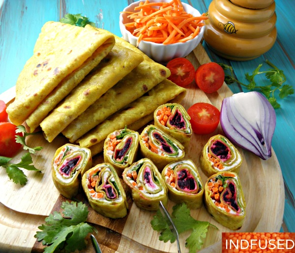#Indianfusion #easy #recipe for #glutenfree roti wraps with the goodness of turmeric, dal and yogurt