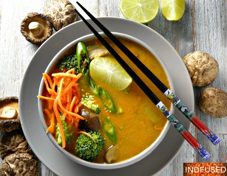 Indian fusion recipe for Thai flavored soup using protein rich #masoordal, dried shitake mushrooms and broccoli. Easy to make, filling and delectable soup