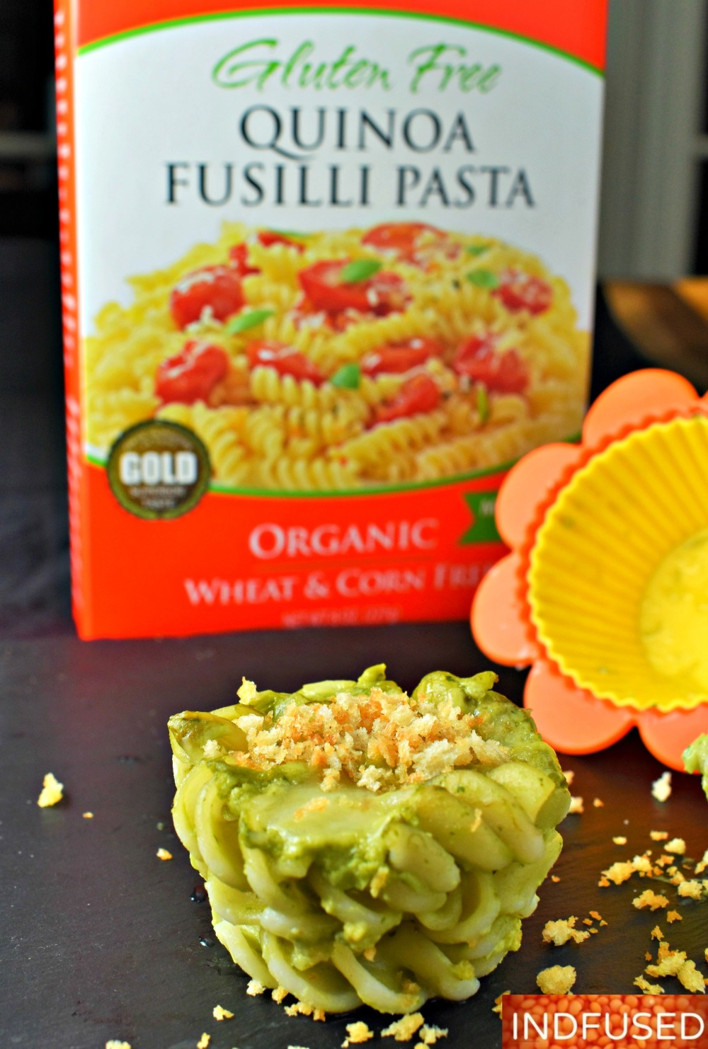 Vegetarian, gluten free Tresomega quinoa fusilli in delectable avocado sauce topped with fontina and gluten free bread crumbs! makes 8 servings.