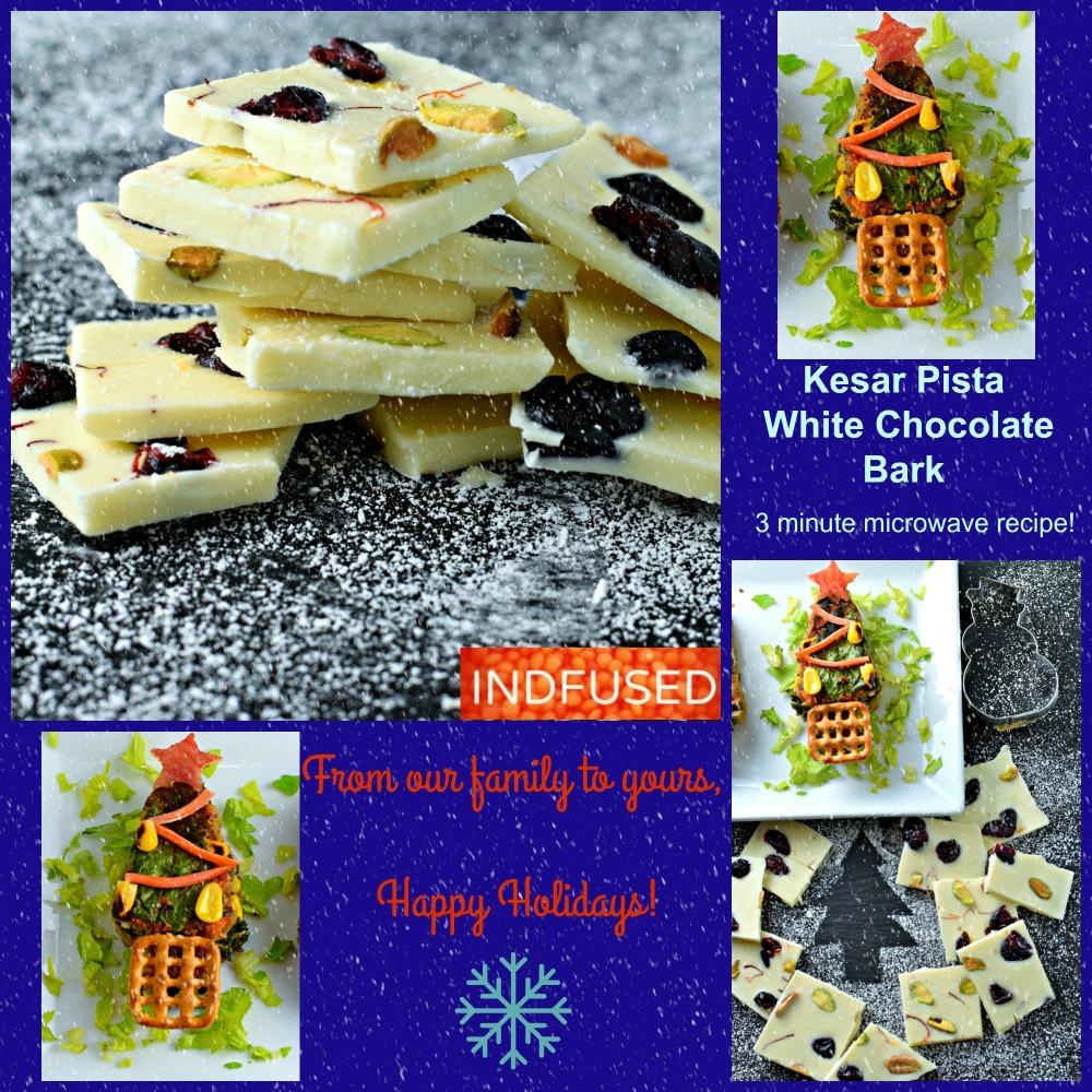 For the #holidays!Kesar Pista White Chocolate Bark- 3 minute microwave recipe