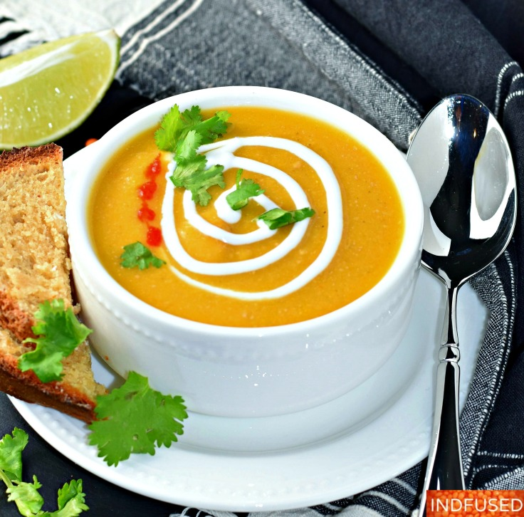 Butternut Peanut Butter Soup- delectable, wholesome, hearty, vegetarian, #gluten free soup with red lentils and #turmeric.