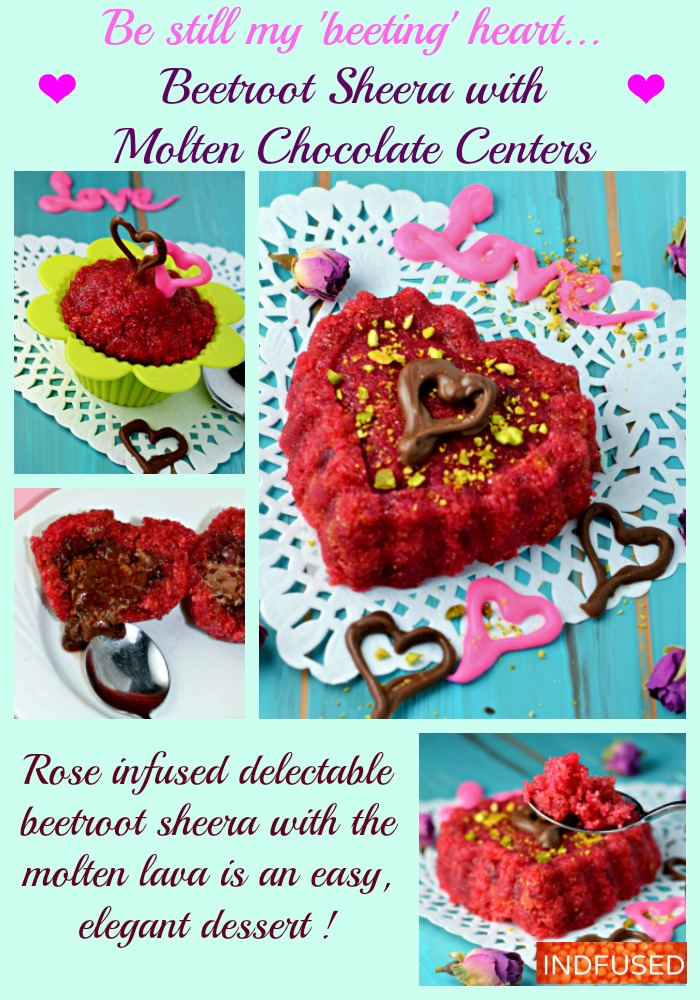 #Valentinesdaydessert #Indianfusiondessert recipe #moltenchocolatedessert #healthy-ish #quickneasyrecipes Beetroot Sheera with Molten Chocolate Centers