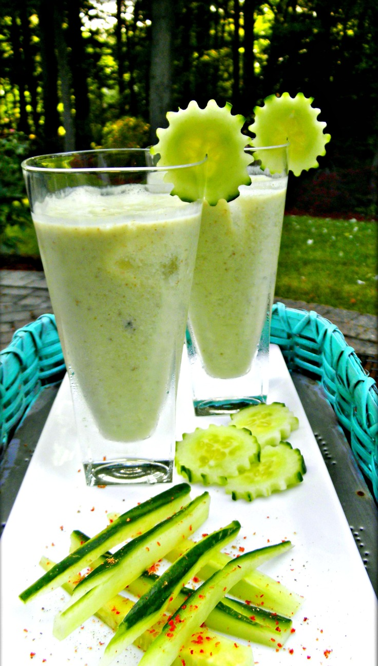 Indfused's recipe for Creamy Avocado Kefir Lassi is my take on the Khari Lassi with the goodness of avocado, cucumber and kefir added in