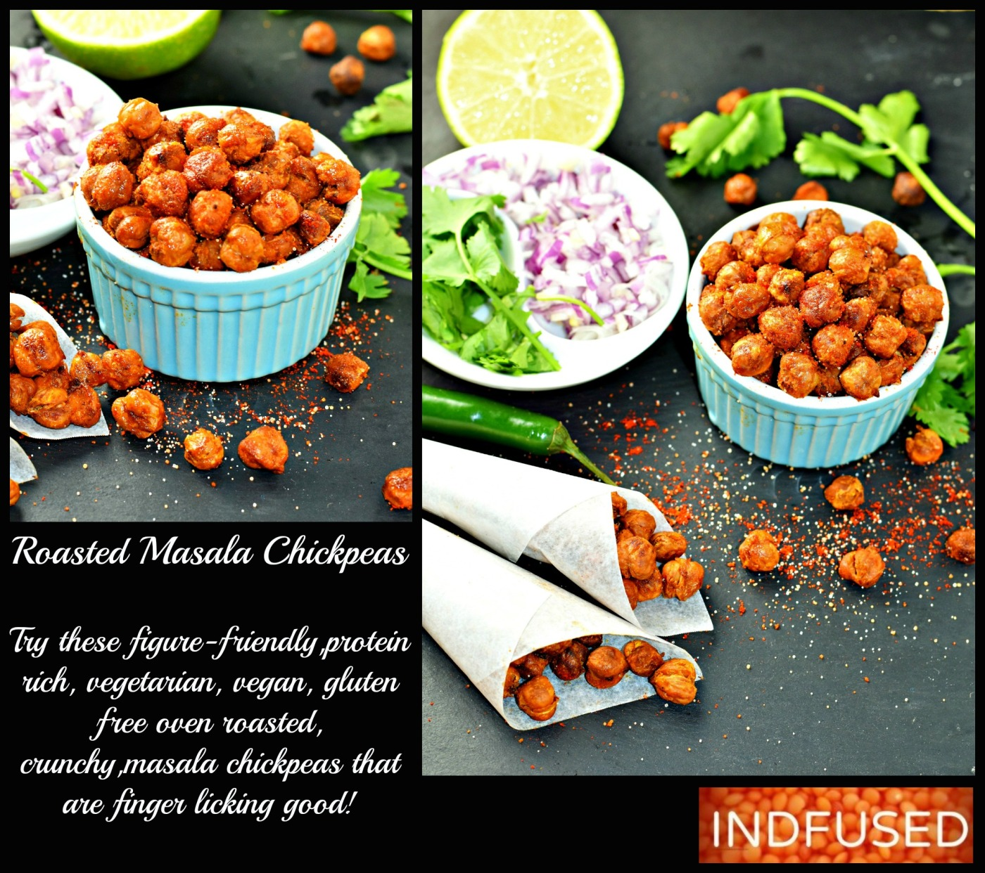 Roasted Masala Chickpeas- figure friendly, gluten free, vegan, vegetarian,crunchy, protein rich Indian snack