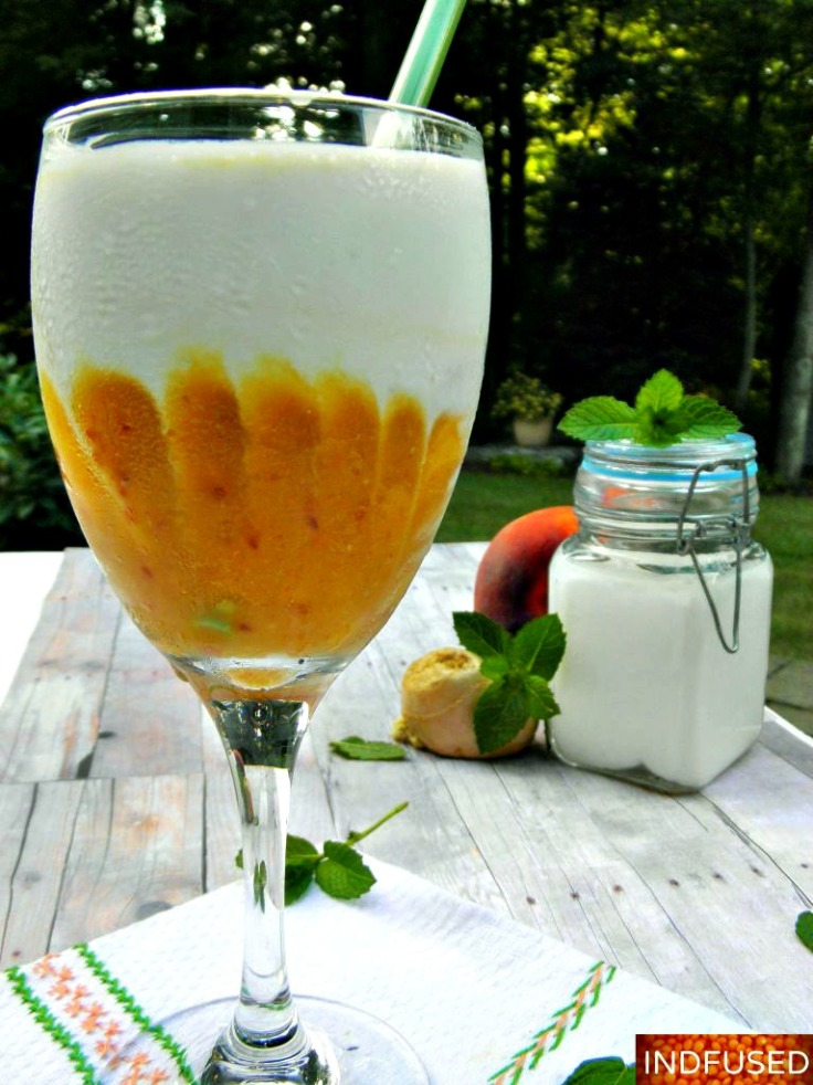 Easy recipe for Ginger Peach Kefir Lassi with the goodness of Chia . serves 2