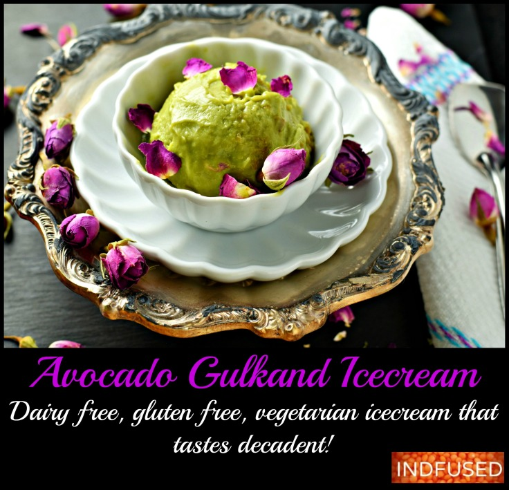 Avocado Gulkand Ice Cream- 3 healthy main ingredients, easy recipe for an Indian fusion dessert, perfect for summer. Dairy free, gluten free, egg-less ice cream with coconut milk and honey. Serves 2.