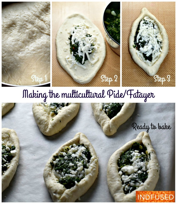 Easy recipe, makes 8, Dough that has the perfect texture and aroma and a scrumptious spinach and cheese filling, Fatayer or Pide with a Indian filling!