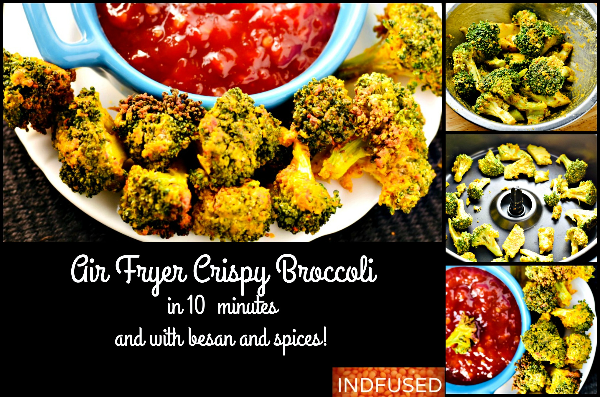 Air Fryer Crispy Broccoli With Spices And Besan