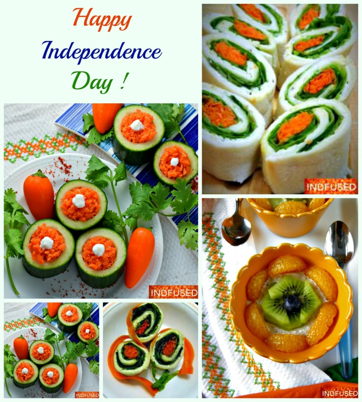 Enjoy them all from nutritious and nectarous Overnight Oats with coconut milk to fun to make and eat Tiranga sandwiches cheese and cool cucumber cups with carrot koshimbir topped with yogurt!