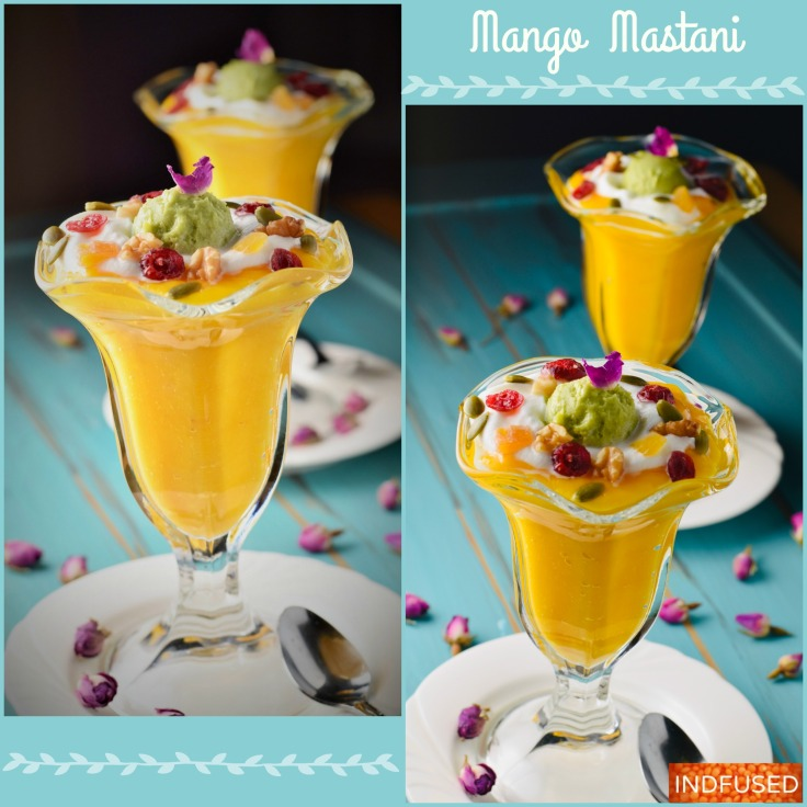 Mango Mastani topped with Avocado Gulkand Ice cream !!