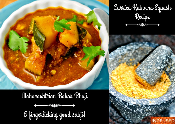 Curried Kabocha Squash Recipe also called Bhoplyachi bakar bhaji from Maharashtra, India.