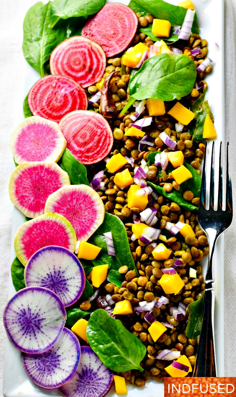 Curried Lentil Salad- Perfect for the season! With baby spinach, multi colored beets, baby spinach and mango