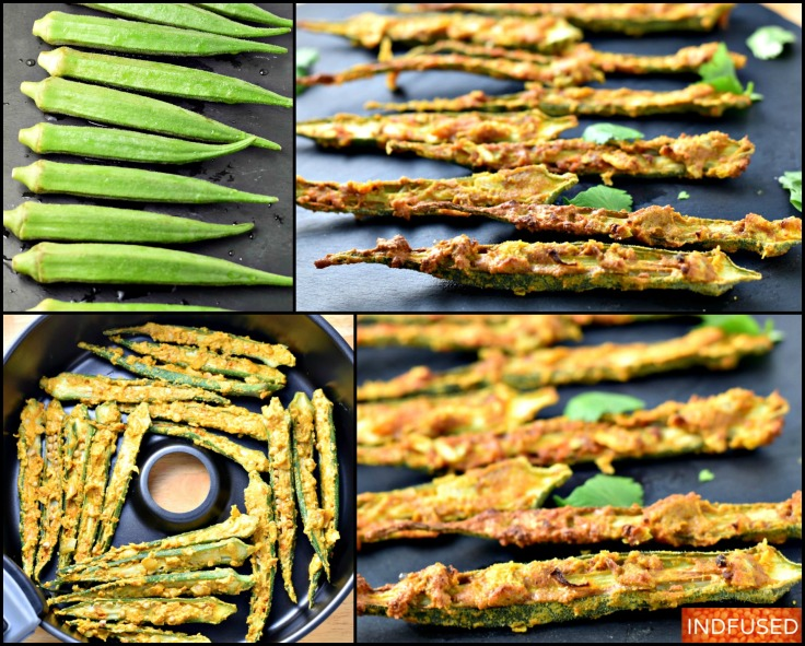 Air Fryer Kurkuri Bhindi - crispy, crunchy and super scrumptious!