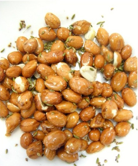 Air Fryer Masala Peanut Bhujia- after 2 minutes in the air fryer