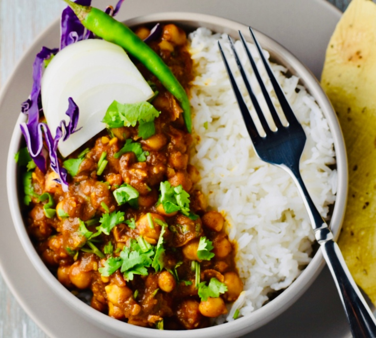 Vegetarian, Gluten free, Chana Masala Bowl with papad!